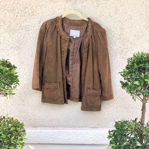 Classiques Entier Brown Leather Jacket w ruffles
